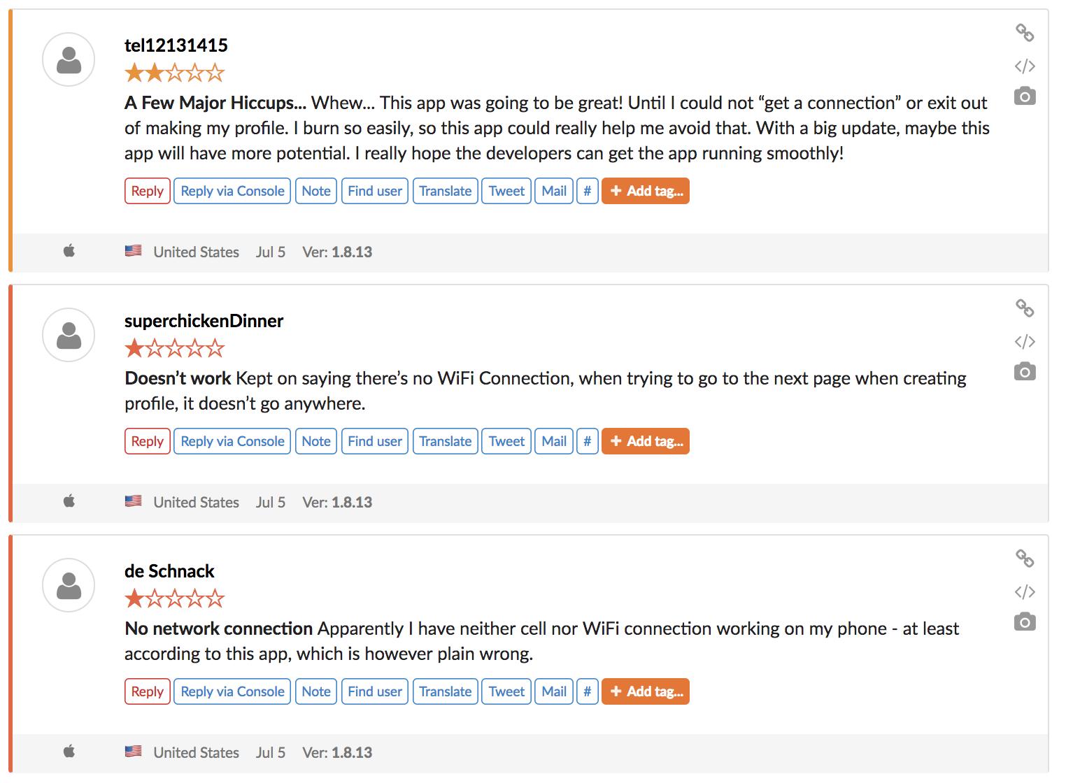 Os usuários relataram os problemas do servidor no dia seguinte após o QSun receber o cartaz App do Dia.