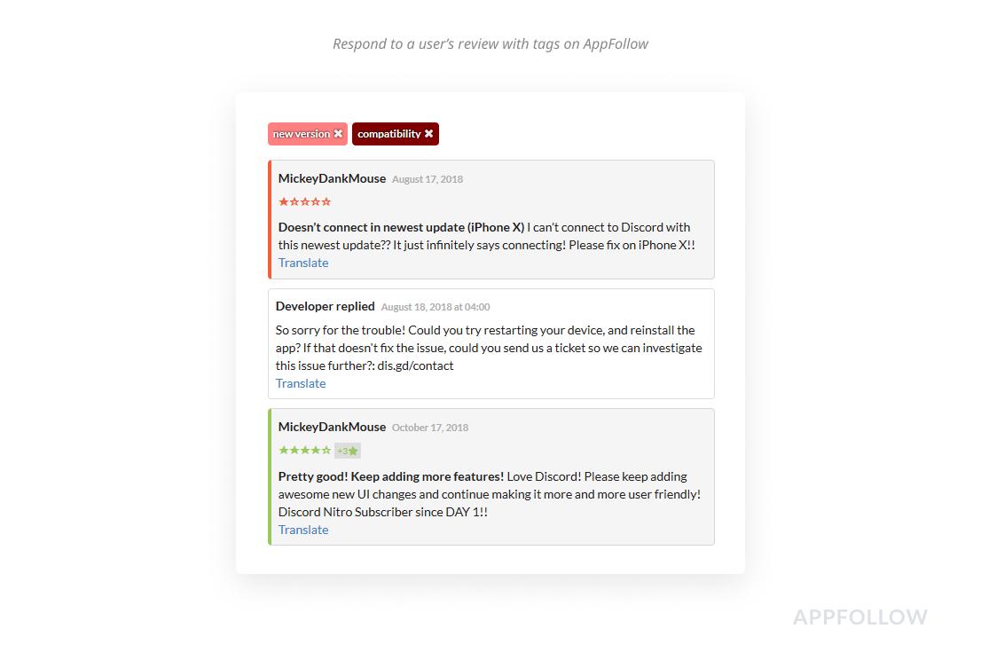 Antworten auf die Rezension eines Benutzers mit Tags auf AppFollow