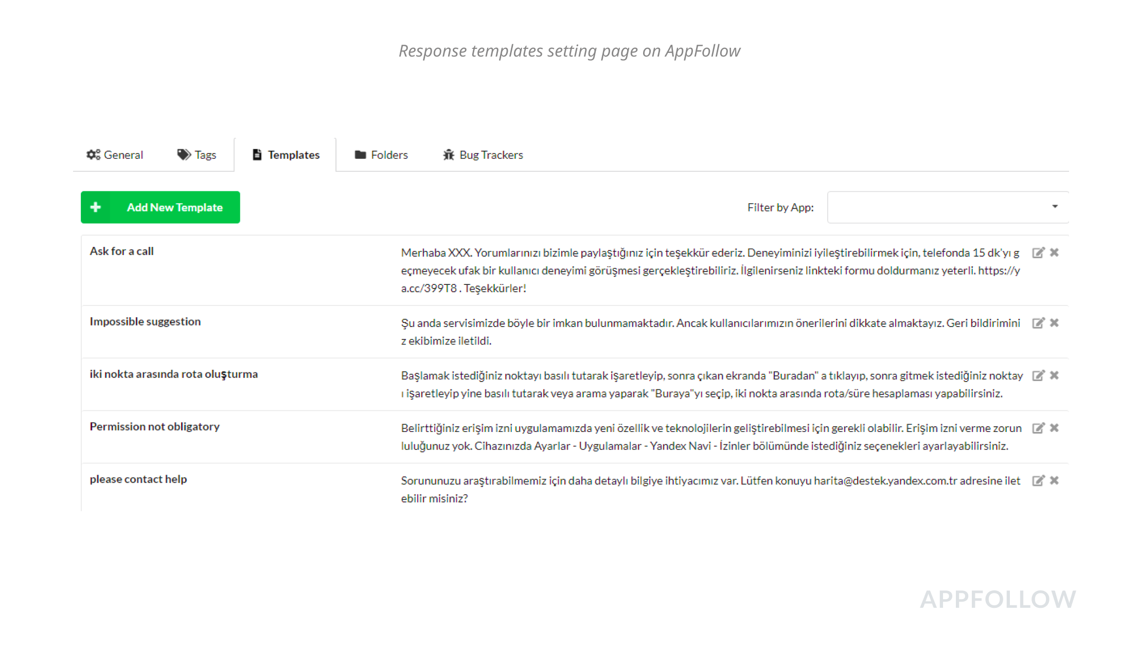 Einstellungsseite für Antwortvorlagen auf AppFollow