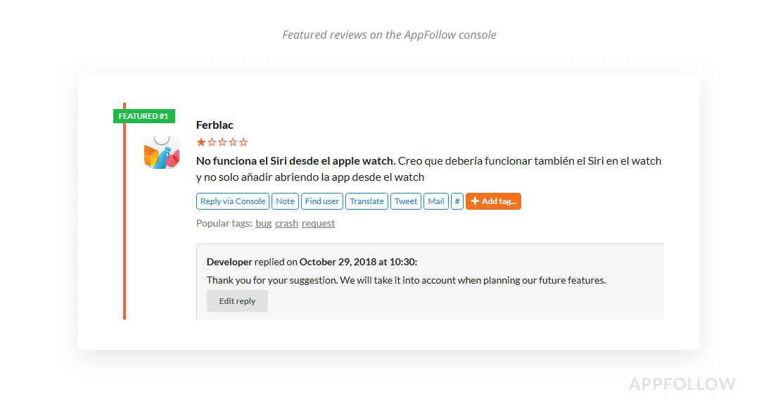Featured Reviews in der AppFollow-Konsole