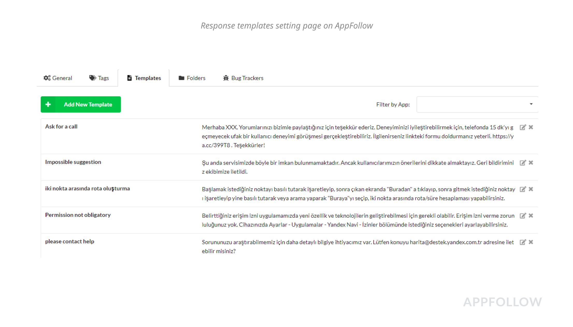 AppFollow의 응답 템플릿 설정 페이지