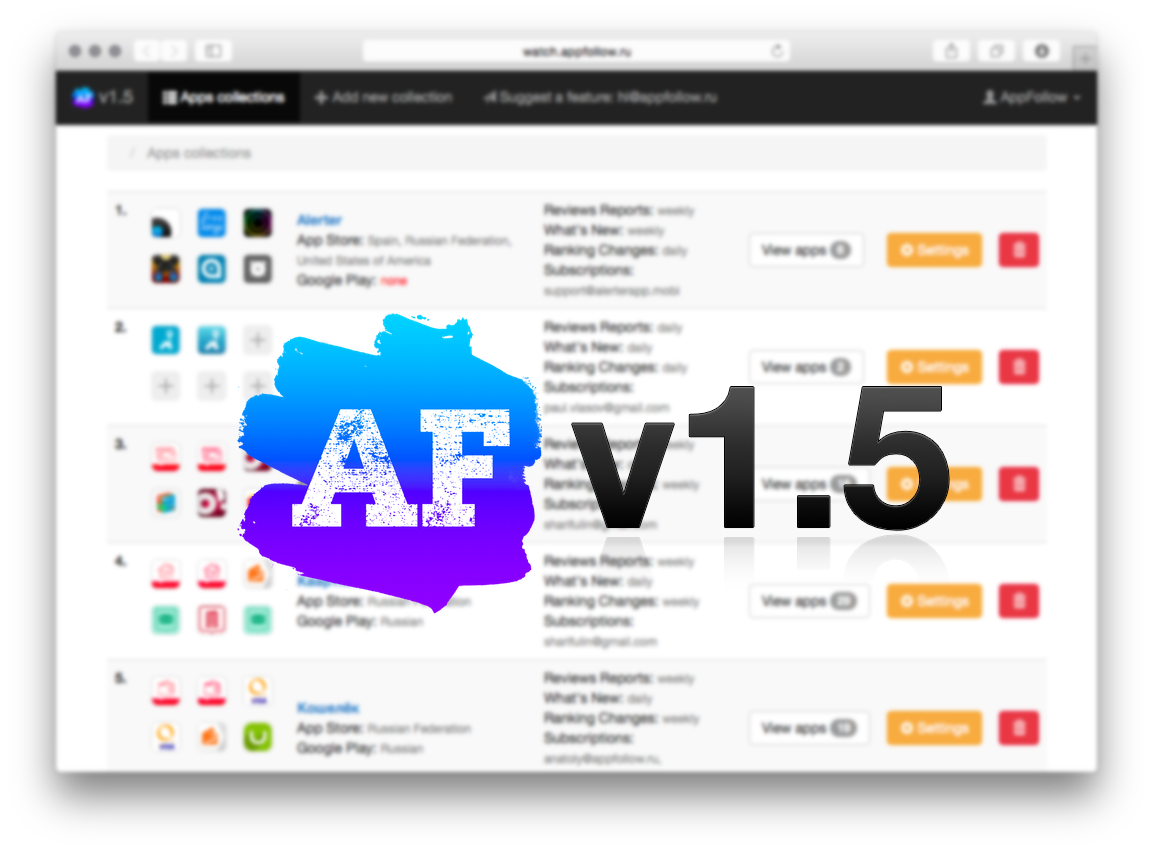 AppFollow v1.5 — новые возможности