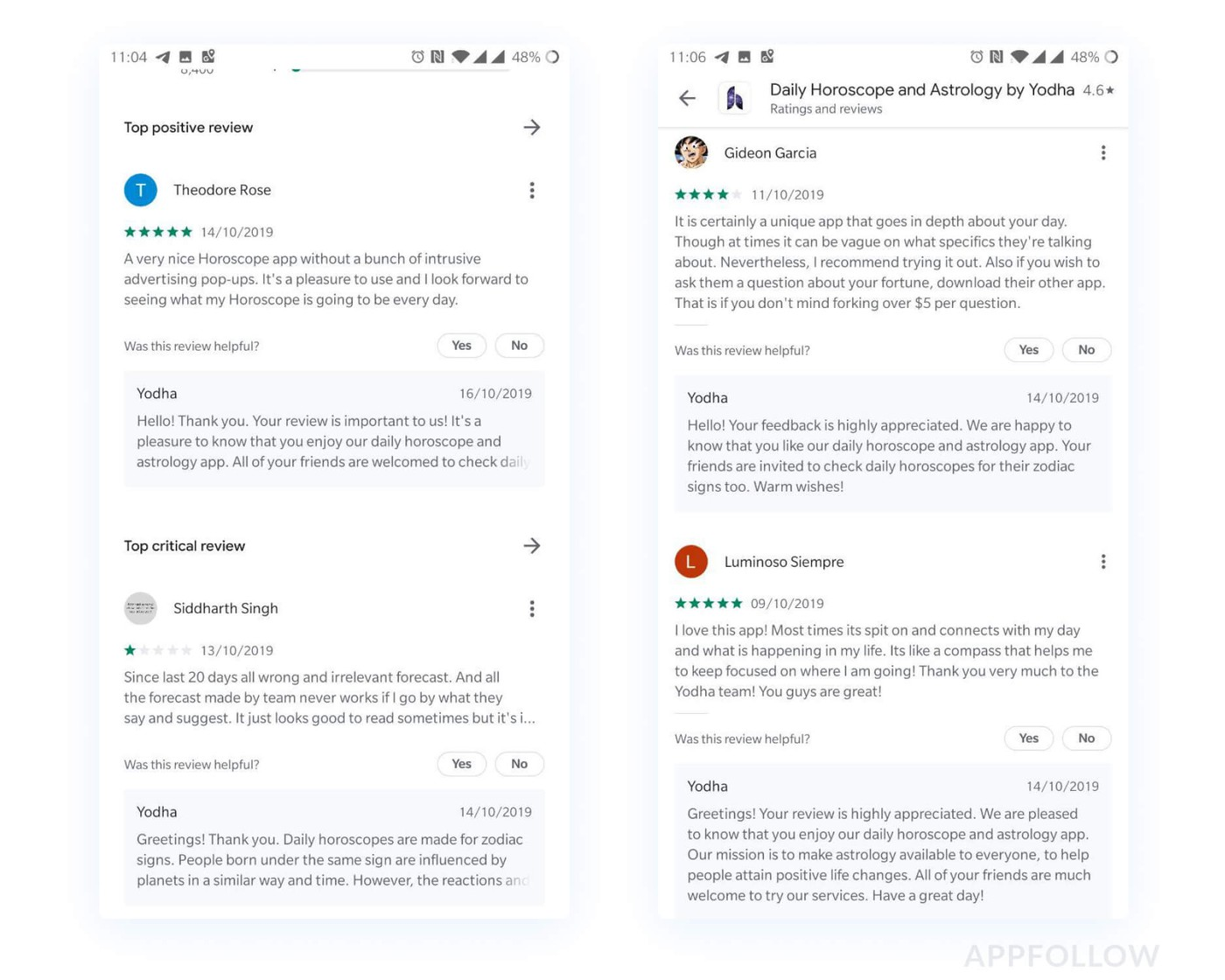 Positive reviews example on Google Play
