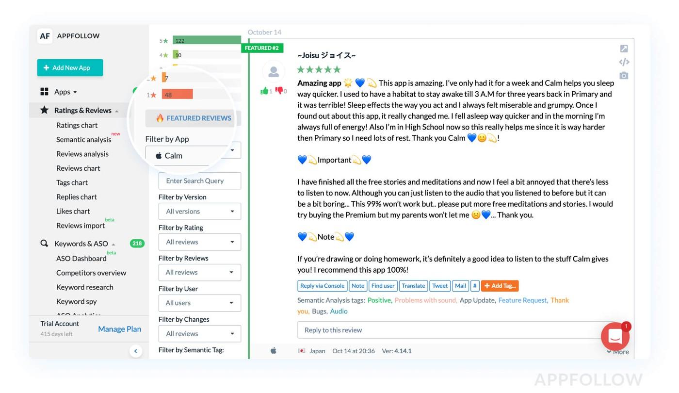 Featured отзывы в AppFollow