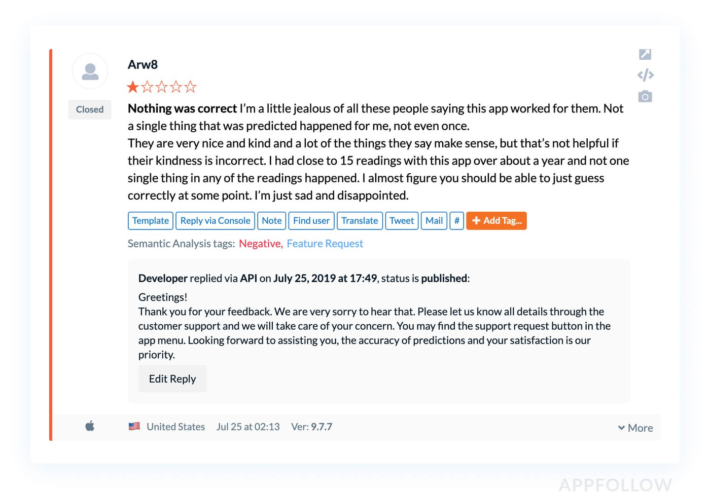 Negative review example in AppFollow