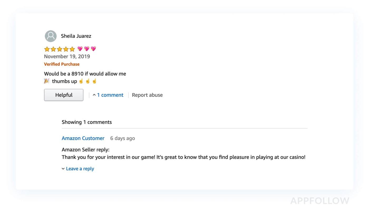 Пример ответа на отзыв на Amazon