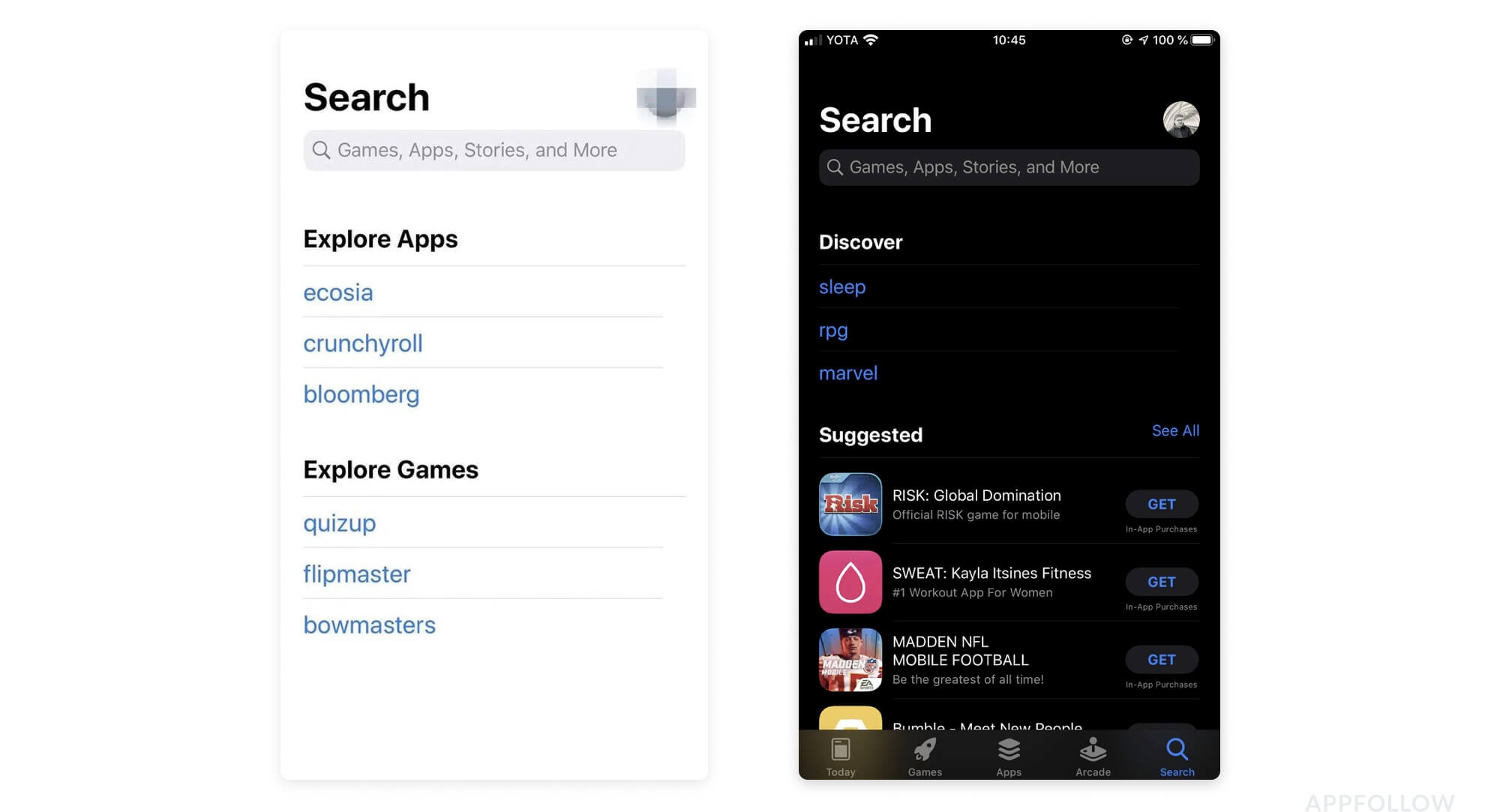New iOS Search page layout | AppFollow