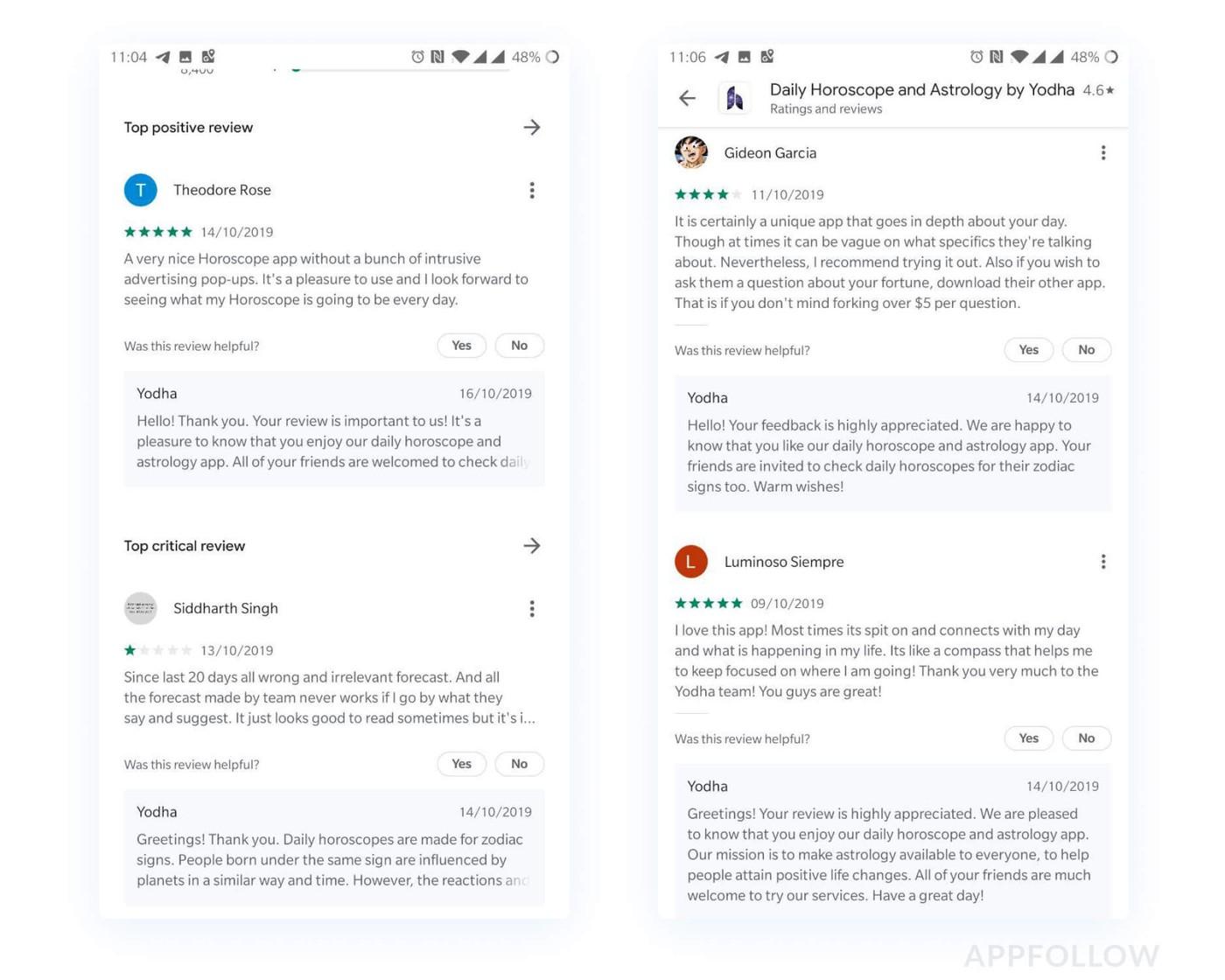Пример позитивных отзывов в Google Play