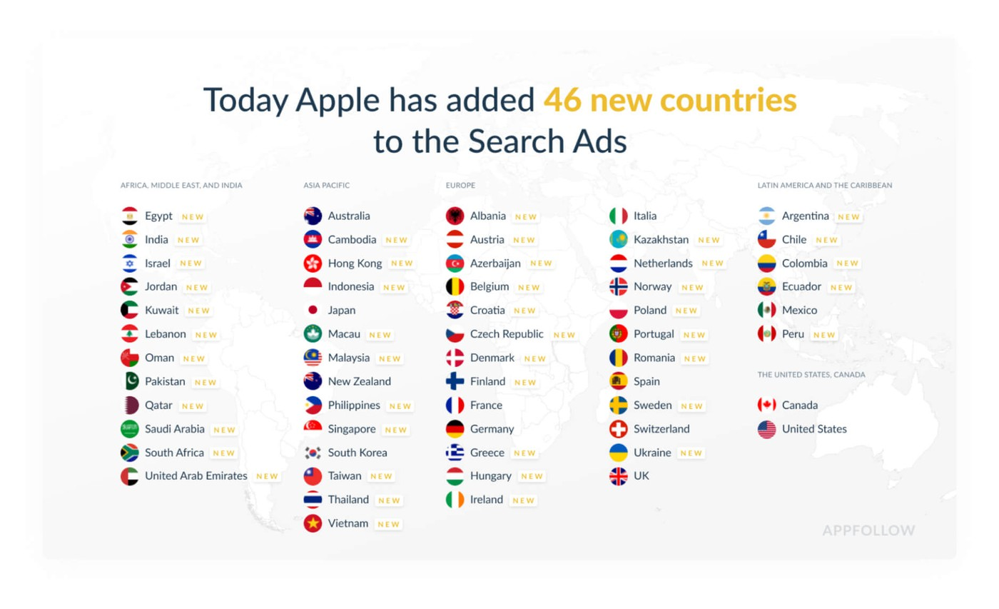 Apple Search Ads 46 new countries added
