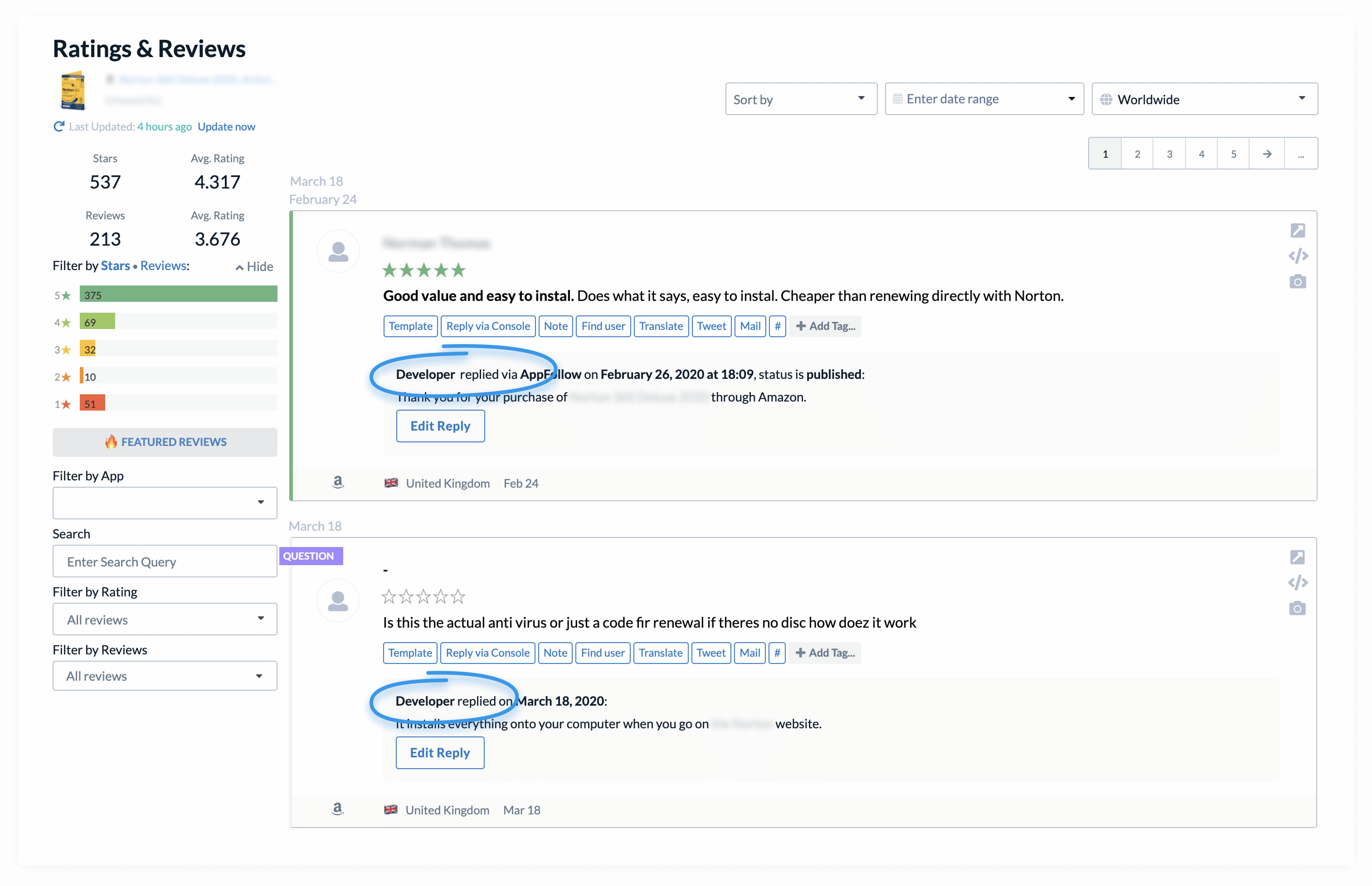 Prioritize questions & reviews