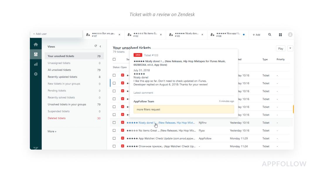 Zendesk의 리뷰가 있는 티켓
