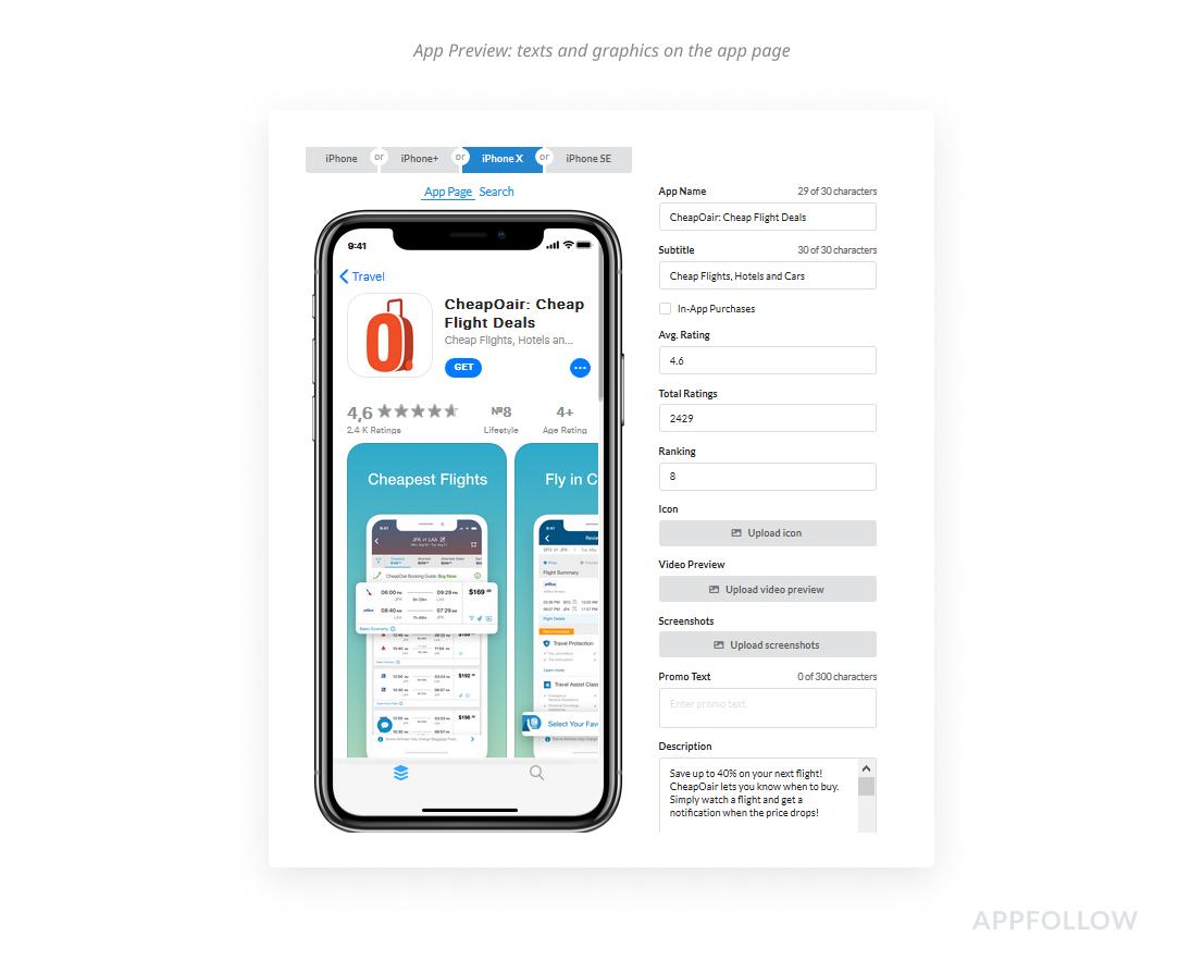 App Preview : textos e gráficos na página do aplicativo