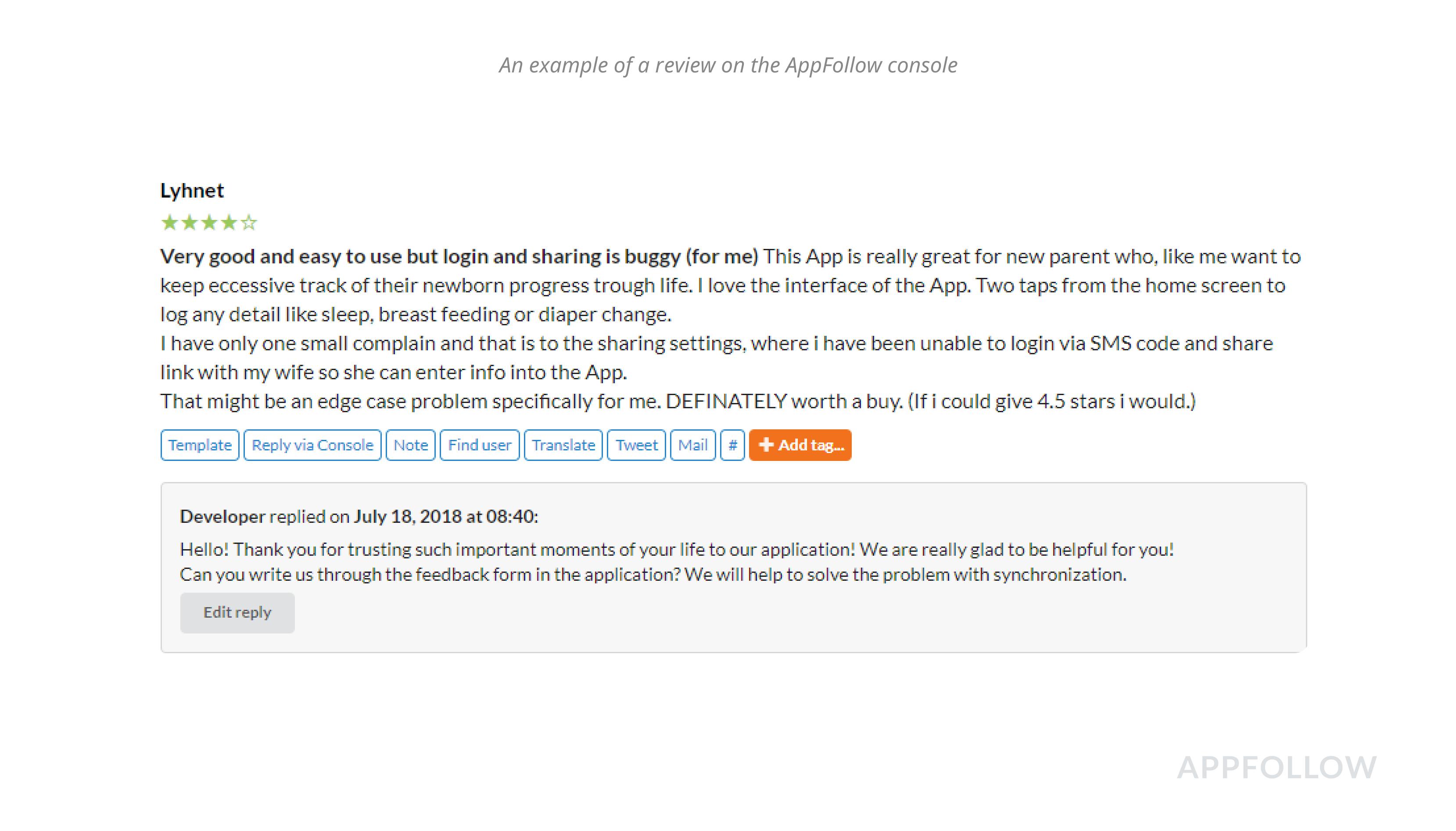 Uma avaliação de usuário e uma resposta do desenvolverdor