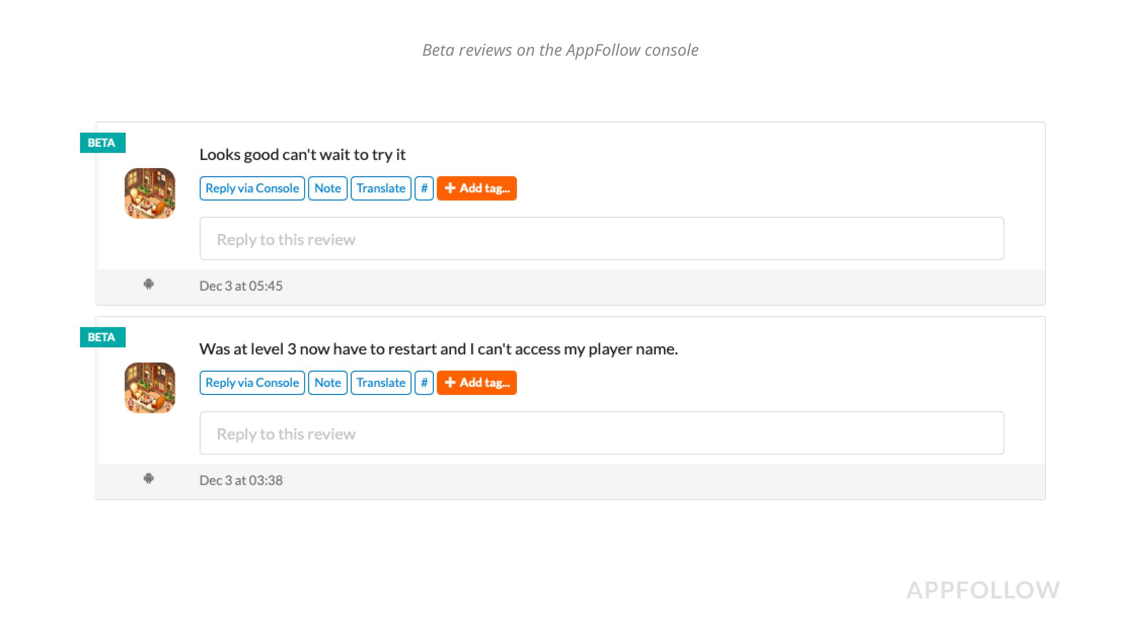 Avaliações beta no console AppFollow