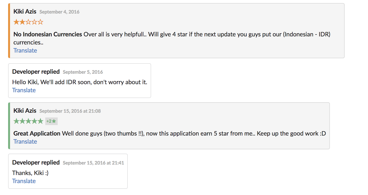 Get higher app rating by replying to customer reviews