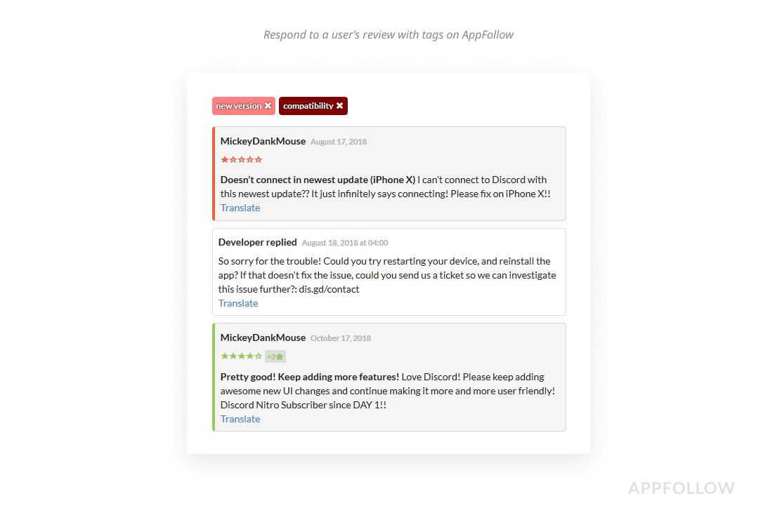 AppFollow tags help reply to reviews quicker and get higher customer ratings