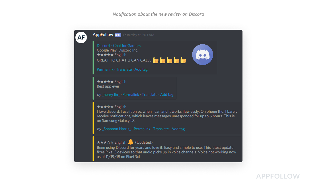 New reviews in Discord channel